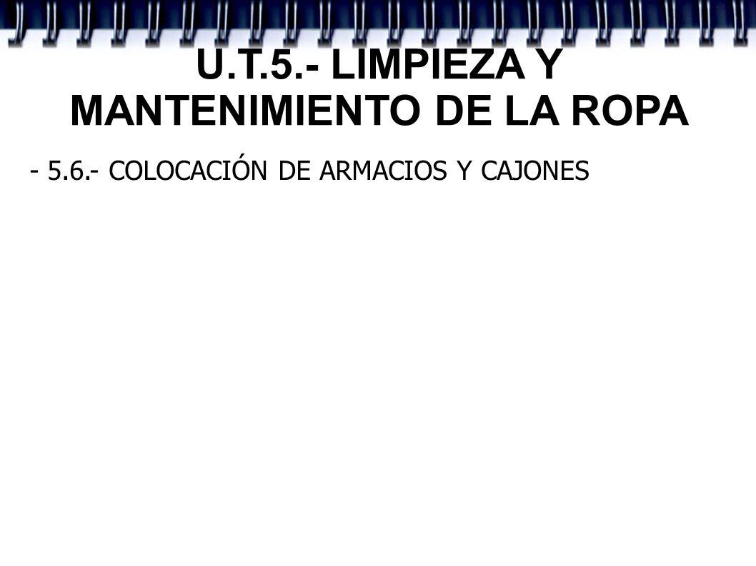 U.T.5.- LIMPIEZA Y MANTENIMIENTO DE LA ROPA - 5.6.- COLOCACIÓN DE ARMACIOS Y CAJONES