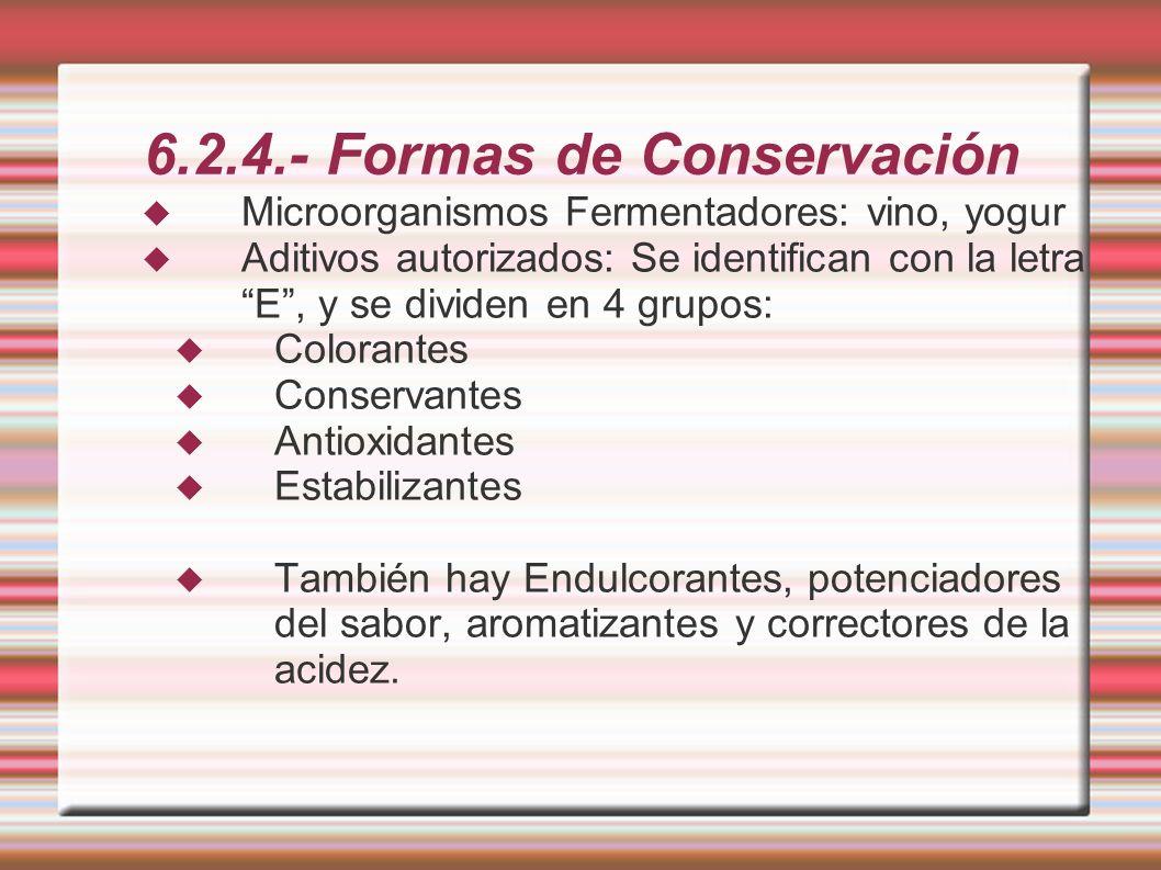 6.2.4.- Formas de Conservación Microorganismos Fermentadores: vino, yogur Aditivos autorizados: Se identifican con la letra E, y se dividen en 4 grupo