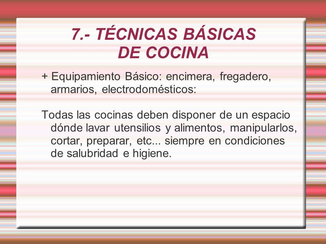 7.- TÉCNICAS BÁSICAS DE COCINA + Equipamiento Básico: encimera, fregadero, armarios, electrodomésticos: Todas las cocinas deben disponer de un espacio