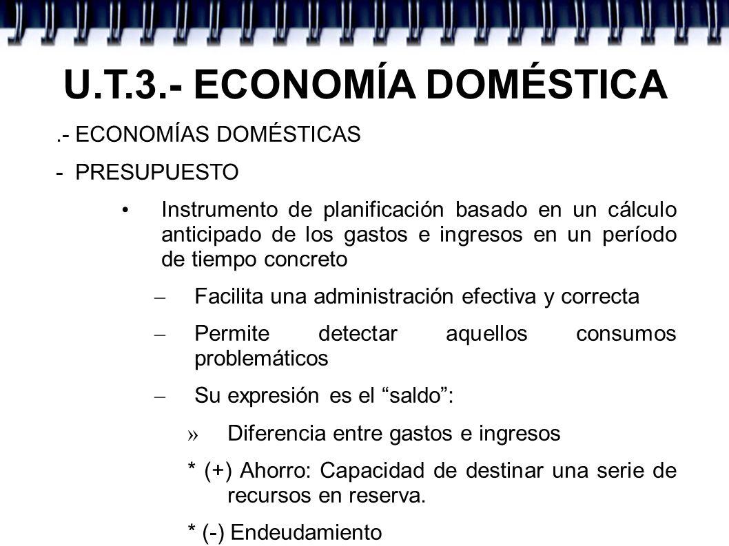 U.T.3.- ECONOMÍA DOMÉSTICA.- ECONOMÍAS DOMÉSTICAS - PRESUPUESTO Instrumento de planificación basado en un cálculo anticipado de los gastos e ingresos