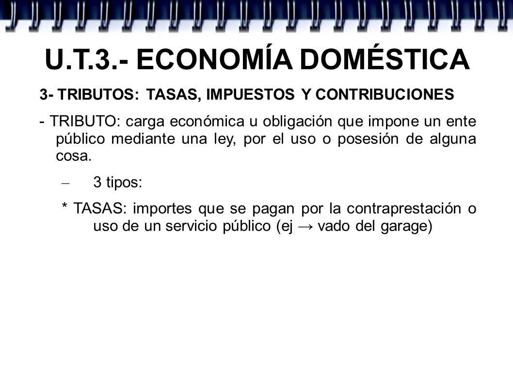 U.T.3.- ECONOMÍA DOMÉSTICA 3- TRIBUTOS: TASAS, IMPUESTOS Y CONTRIBUCIONES - TRIBUTO: carga económica u obligación que impone un ente público mediante