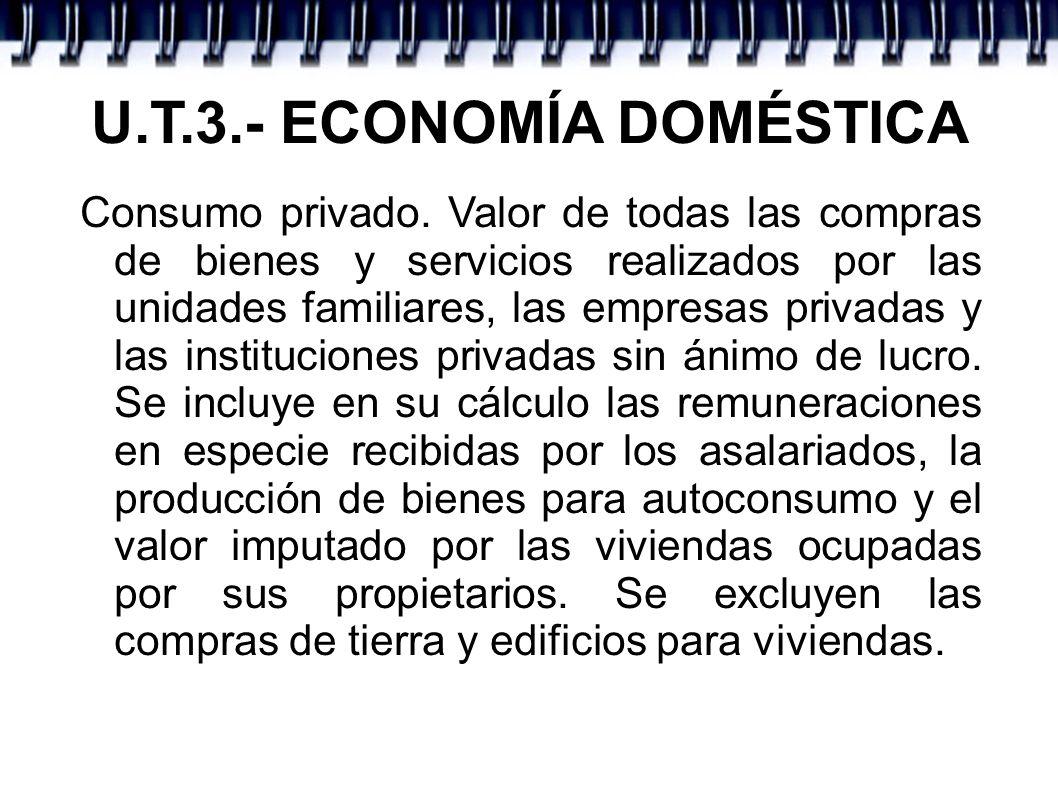 U.T.3.- ECONOMÍA DOMÉSTICA Consumo privado. Valor de todas las compras de bienes y servicios realizados por las unidades familiares, las empresas priv