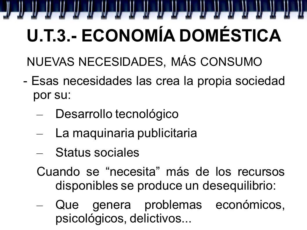 U.T.3.- ECONOMÍA DOMÉSTICA CONSUMO RESPONSABLE - Es aquel que se realiza siendo conscientes de las repercusiones económicas, sociales y ambientales que comporta dicho acto de consumo.