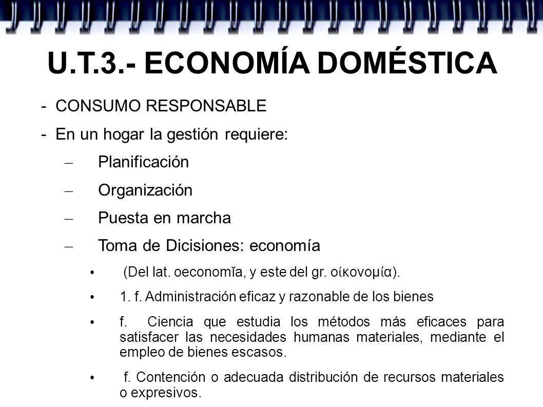 U.T.3.- ECONOMÍA DOMÉSTICA - CONSUMO RESPONSABLE - En un hogar la gestión requiere: – Planificación – Organización – Puesta en marcha – Toma de Dicisi