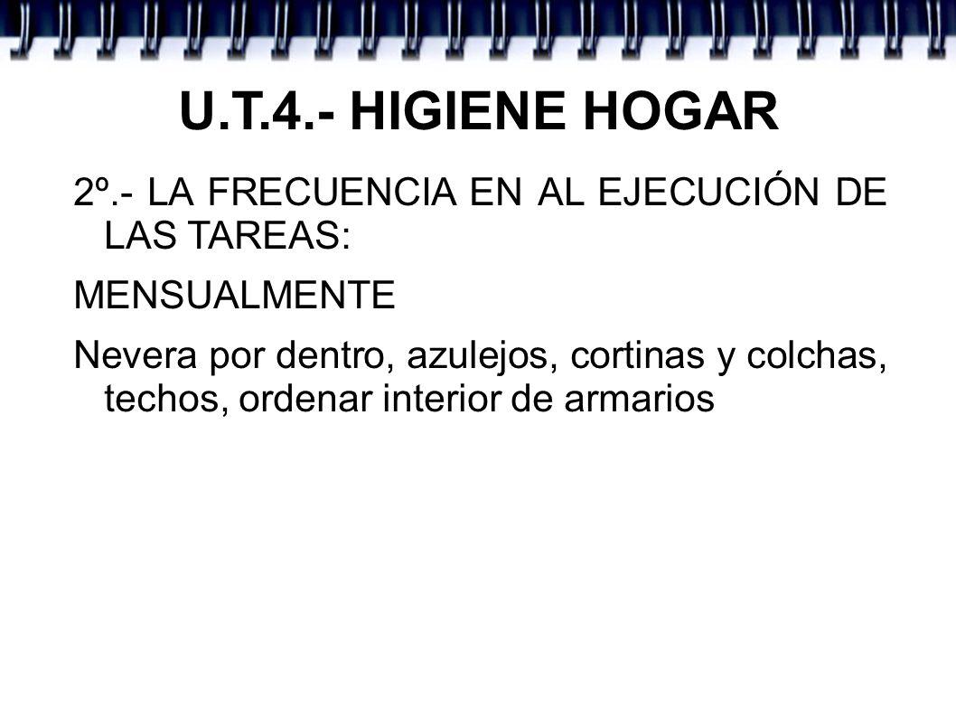 U.T.4.- HIGIENE HOGAR 2º.- LA FRECUENCIA EN AL EJECUCIÓN DE LAS TAREAS: MENSUALMENTE Nevera por dentro, azulejos, cortinas y colchas, techos, ordenar