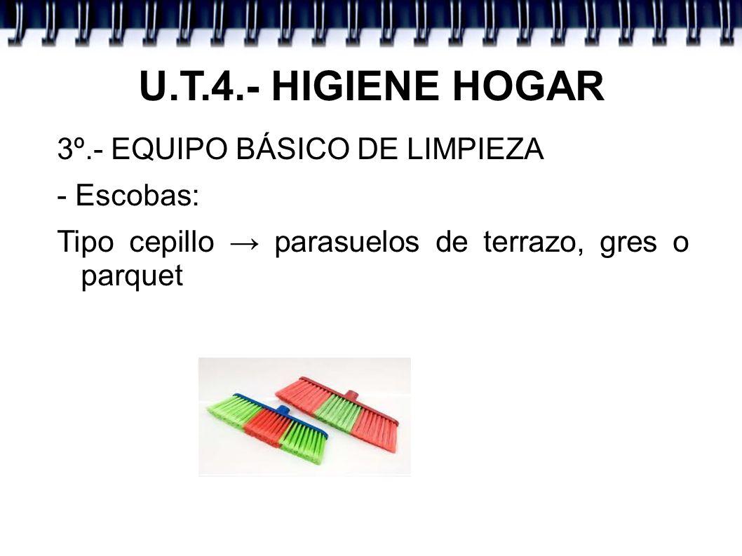 U.T.4.- HIGIENE HOGAR 3º.- EQUIPO BÁSICO DE LIMPIEZA - Escobas: Tipo cepillo parasuelos de terrazo, gres o parquet