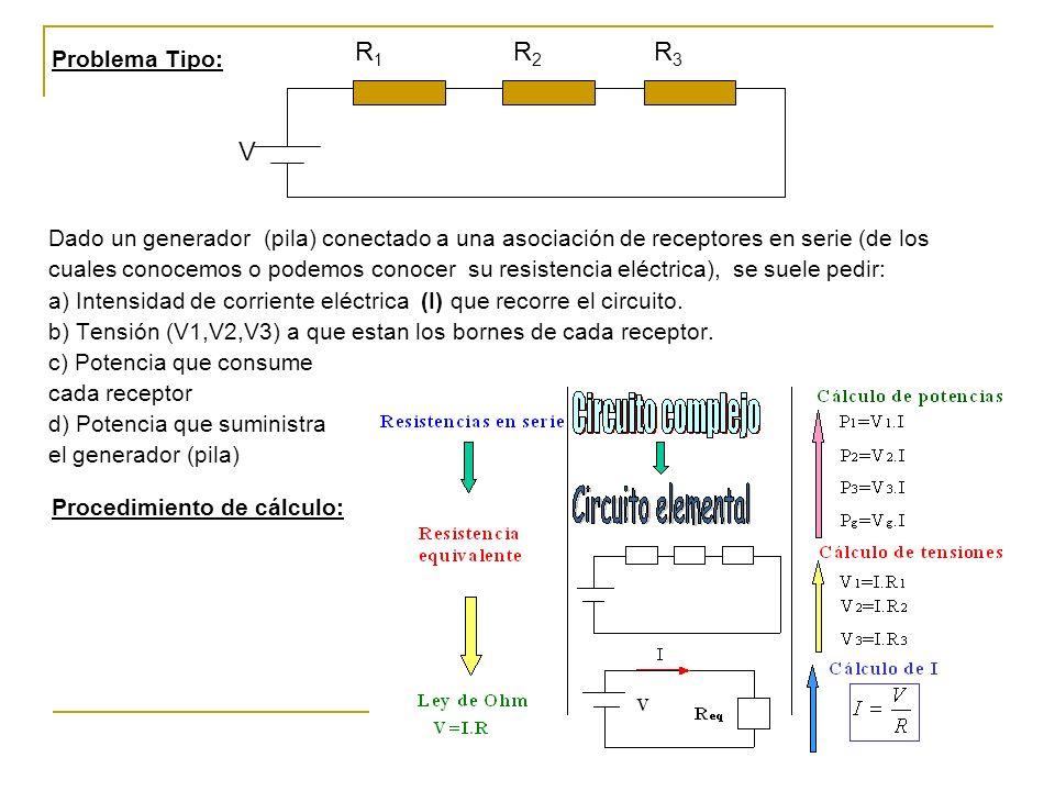 Dado un generador (pila) conectado a una asociación de receptores en serie (de los cuales conocemos o podemos conocer su resistencia eléctrica), se suele pedir: a) Intensidad de corriente eléctrica (I) que recorre el circuito.