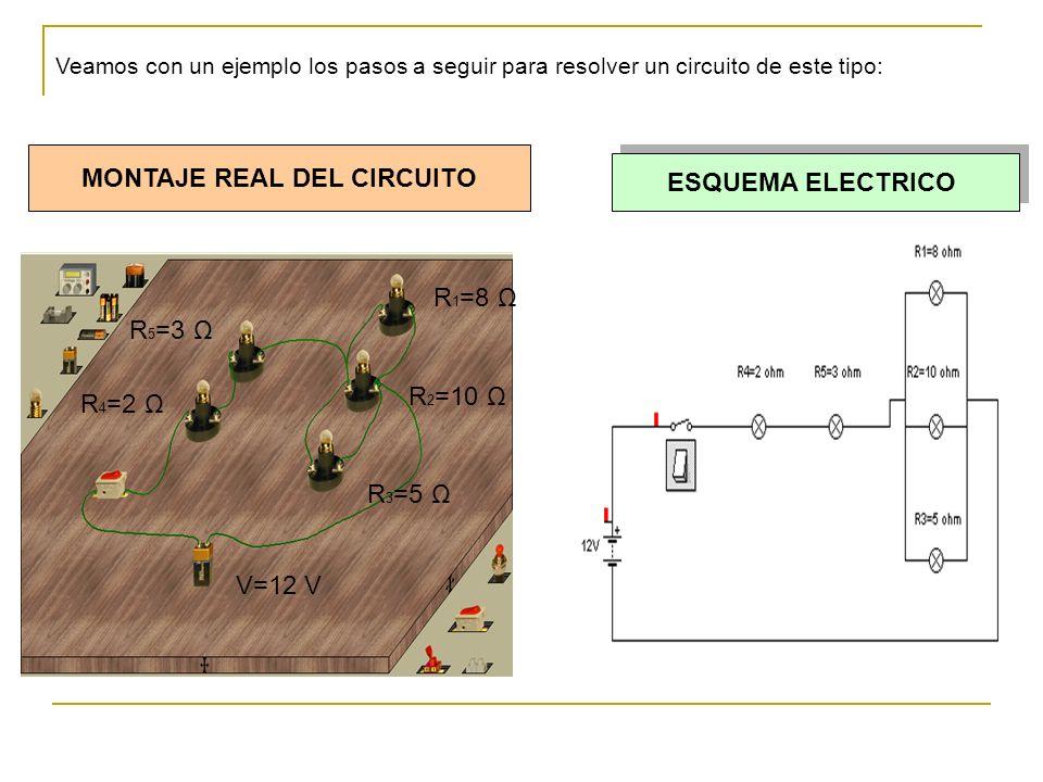 V=12 V R 4 =2 Ω R 5 =3 Ω R 1 =8 Ω R 2 =10 Ω R 3 =5 Ω MONTAJE REAL DEL CIRCUITO ESQUEMA ELECTRICO Veamos con un ejemplo los pasos a seguir para resolver un circuito de este tipo: