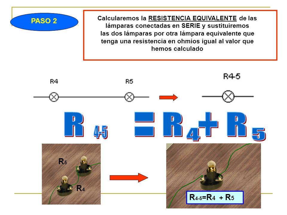 PASO 2 Calcularemos la RESISTENCIA EQUIVALENTE de las lámparas conectadas en SERIE y sustituiremos las dos lámparas por otra lámpara equivalente que tenga una resistencia en ohmios igual al valor que hemos calculado R 4-5 = R 4 + R 5 R4R4 R5R5