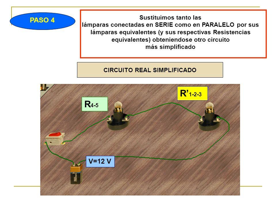PASO 4 Sustituimos tanto las lámparas conectadas en SERIE como en PARALELO por sus lámparas equivalentes (y sus respectivas Resistencias equivalentes) obteniendose otro circuito más simplificado V=12 V R 1-2-3 R 4-5 CIRCUITO REAL SIMPLIFICADO