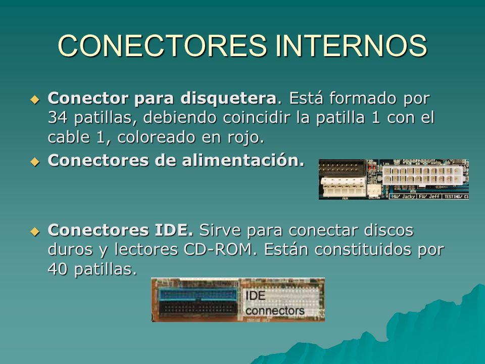 CONECTORES INTERNOS Conector para disquetera. Está formado por 34 patillas, debiendo coincidir la patilla 1 con el cable 1, coloreado en rojo. Conecto