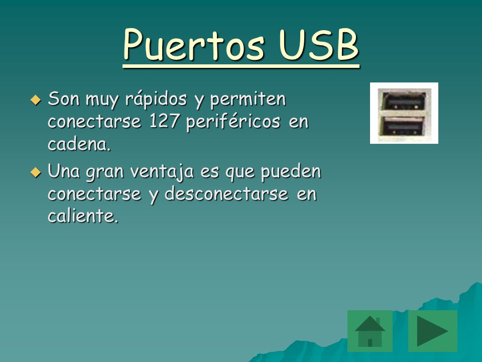 Puertos USB Son Son muy rápidos y permiten conectarse 127 periféricos en cadena. Una Una gran ventaja es que pueden conectarse y desconectarse en cali