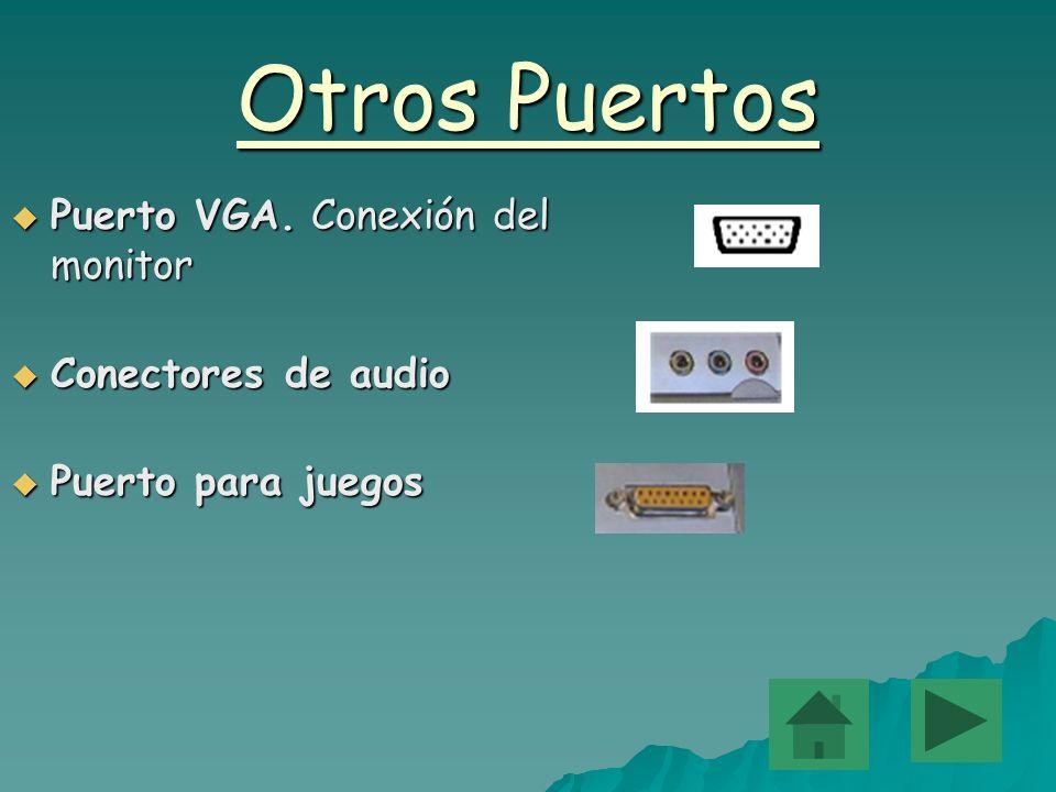 Otros Puertos Puerto Puerto VGA. VGA. Conexión del monitor Conectores Conectores de audio Puerto Puerto para juegos