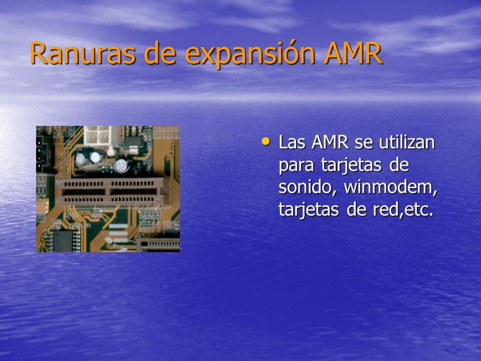 Ranuras de expansión AMR Las AMR se utilizan para tarjetas de sonido, winmodem, tarjetas de red,etc.