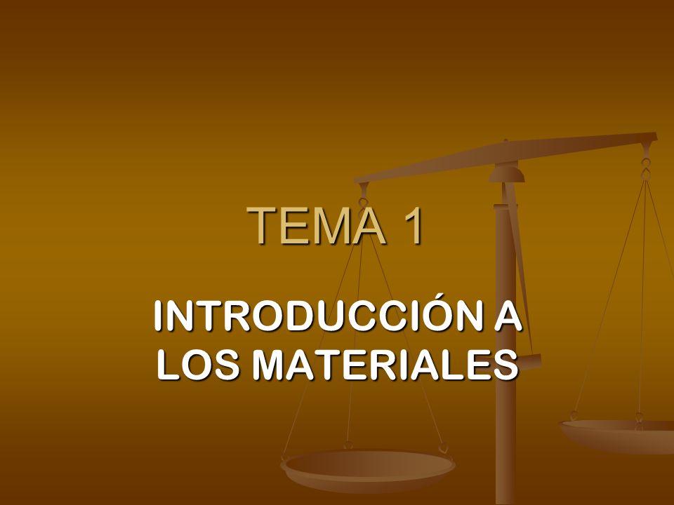 TEMA 1 INTRODUCCIÓN A LOS MATERIALES