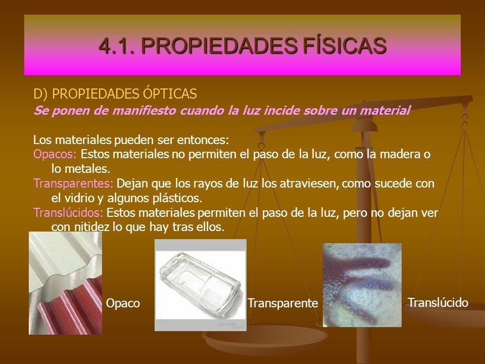 4.1. PROPIEDADES FÍSICAS D) PROPIEDADES ÓPTICAS Se ponen de manifiesto cuando la luz incide sobre un material Los materiales pueden ser entonces: Opac
