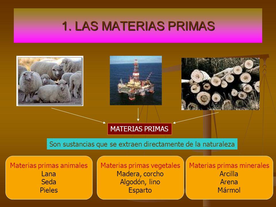 1. LAS MATERIAS PRIMAS MATERIAS PRIMAS Son sustancias que se extraen directamente de la naturaleza Materias primas animales Lana Seda Pieles Materias