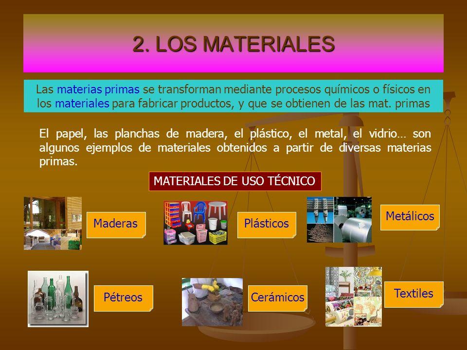 2. LOS MATERIALES MATERIALES DE USO TÉCNICO Las materias primas se transforman mediante procesos químicos o físicos en los materiales para fabricar pr