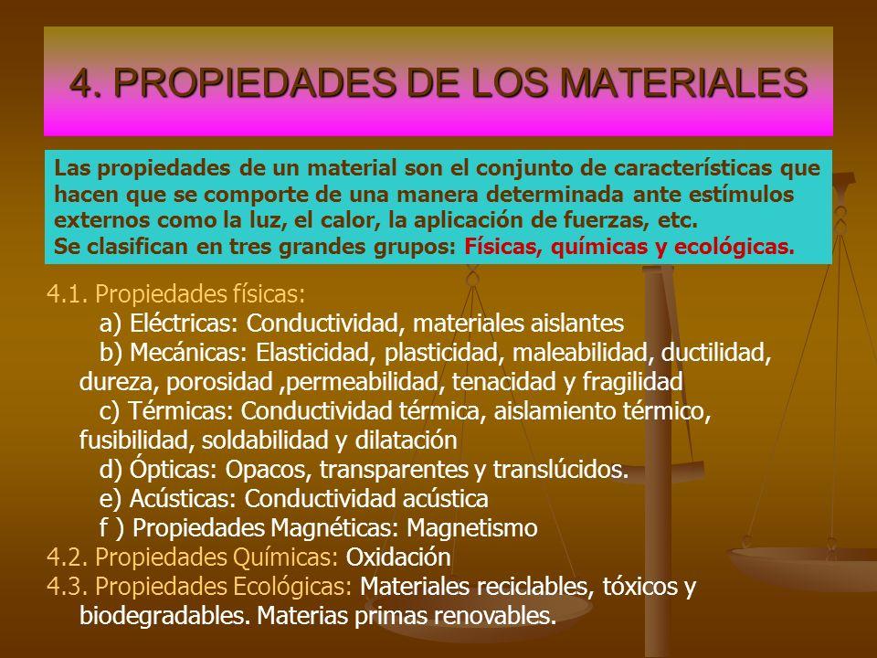 4. PROPIEDADES DE LOS MATERIALES Las propiedades de un material son el conjunto de características que hacen que se comporte de una manera determinada