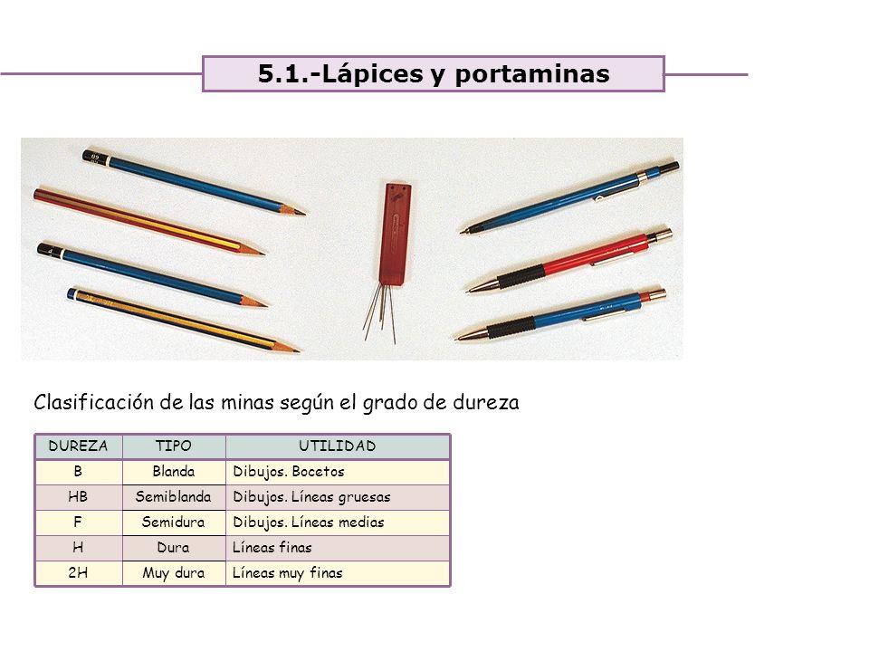 Unidad 4. Expresión y comunicación de ideas 5.1.-Lápices y portaminas UTILIDADTIPO Líneas muy finasMuy dura2H Líneas finasDuraH Dibujos. Líneas medias