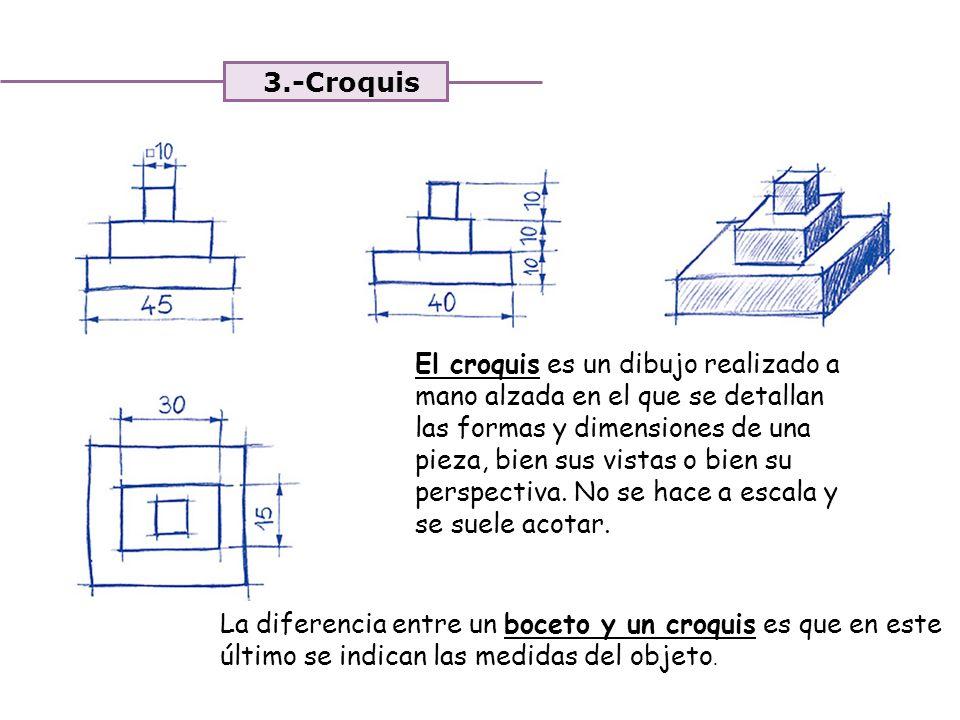 Unidad 4. Expresión y comunicación de ideas 3.-Croquis El croquis es un dibujo realizado a mano alzada en el que se detallan las formas y dimensiones
