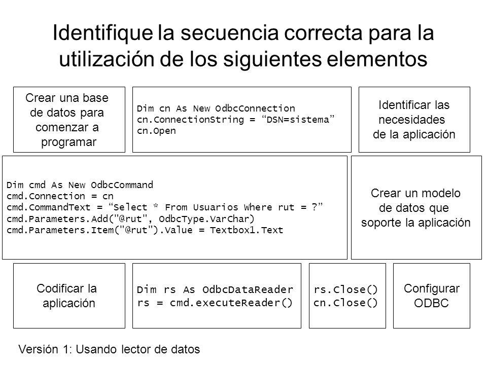 Identifique la secuencia correcta para la utilización de los siguientes elementos Identificar las necesidades de la aplicación Crear un modelo de datos que soporte la aplicación Crear una base de datos para comenzar a programar Codificar la aplicación Dim cn As New OdbcConnection cn.ConnectionString = DSN=sistema cn.Open Dim cmd As New OdbcCommand cmd.Connection = cn cmd.CommandText = Delete From Usuarios Where rut=.