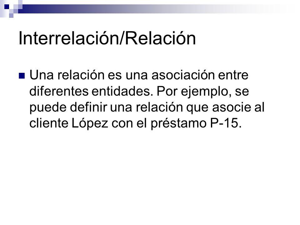 Interrelación/Relación Una relación es una asociación entre diferentes entidades. Por ejemplo, se puede definir una relación que asocie al cliente Lóp