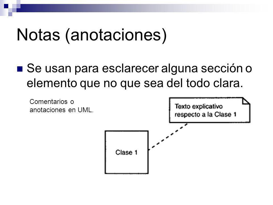 Notas (anotaciones) Se usan para esclarecer alguna sección o elemento que no que sea del todo clara. Comentarios o anotaciones en UML.