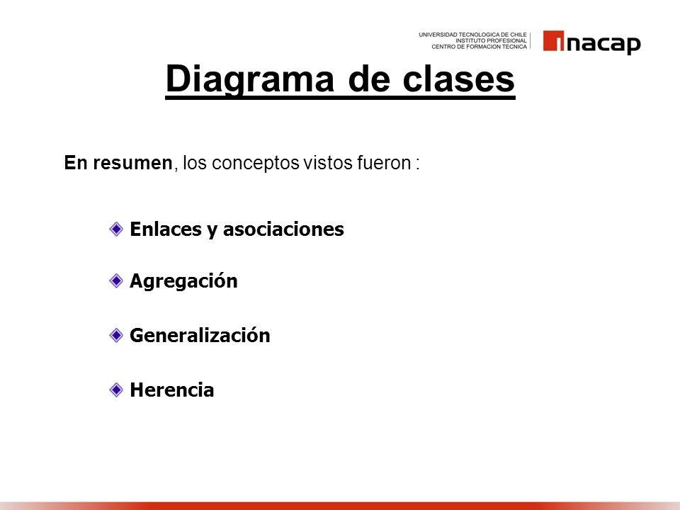 Diagrama de clases En resumen, los conceptos vistos fueron : Enlaces y asociaciones Agregación Generalización Herencia