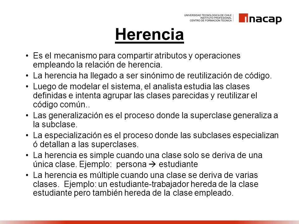 Herencia Es el mecanismo para compartir atributos y operaciones empleando la relación de herencia. La herencia ha llegado a ser sinónimo de reutilizac