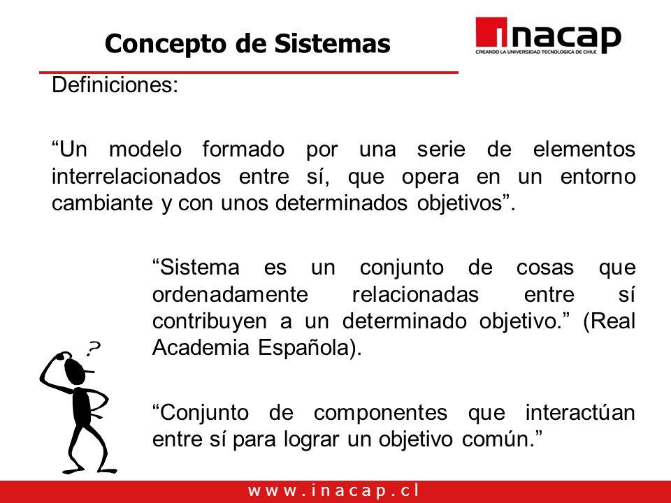 w w w. i n a c a p. c l Concepto de Sistemas Definiciones: Un modelo formado por una serie de elementos interrelacionados entre sí, que opera en un en