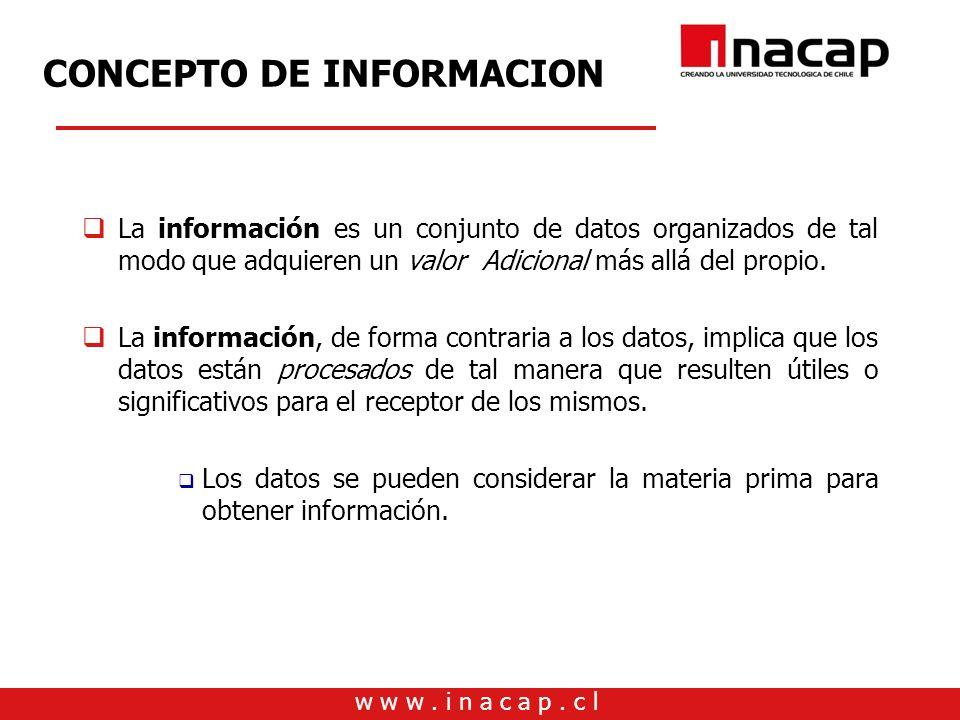 w w w. i n a c a p. c l CONCEPTO DE INFORMACION La información es un conjunto de datos organizados de tal modo que adquieren un valor Adicional más al