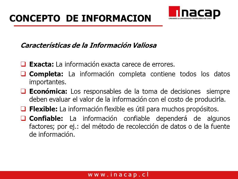 w w w. i n a c a p. c l CONCEPTO DE INFORMACION Características de la Información Valiosa Exacta: La información exacta carece de errores. Completa: L