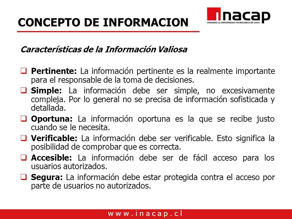 w w w. i n a c a p. c l CONCEPTO DE INFORMACION Características de la Información Valiosa Pertinente: La información pertinente es la realmente import