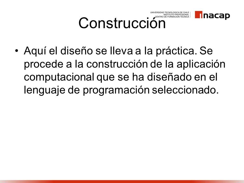 Construcción Aquí el diseño se lleva a la práctica. Se procede a la construcción de la aplicación computacional que se ha diseñado en el lenguaje de p
