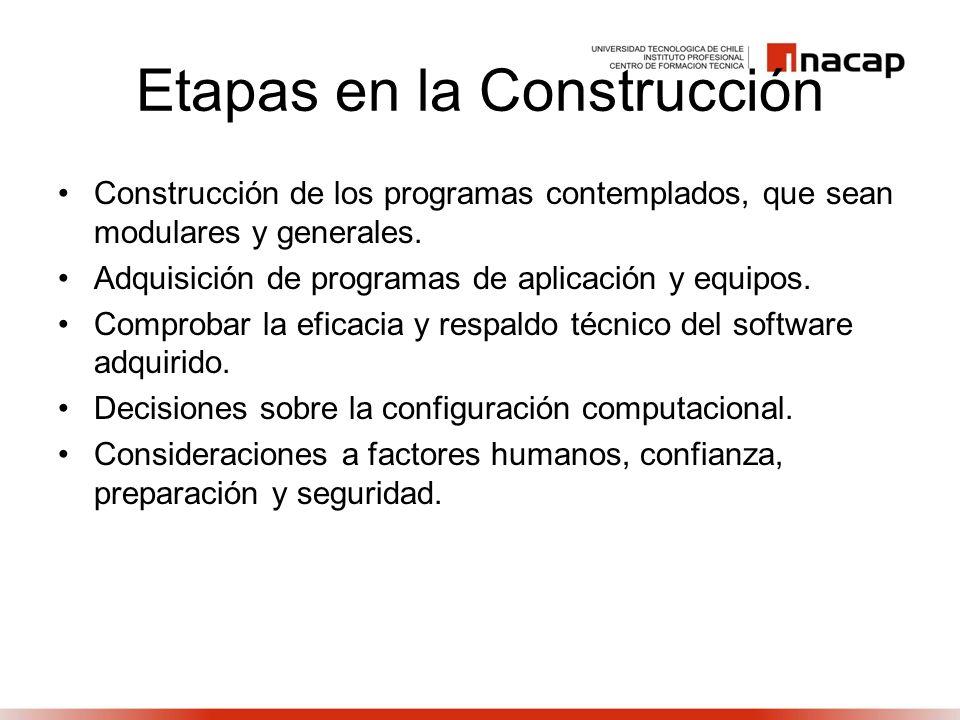 Etapas en la Construcción Construcción de los programas contemplados, que sean modulares y generales. Adquisición de programas de aplicación y equipos