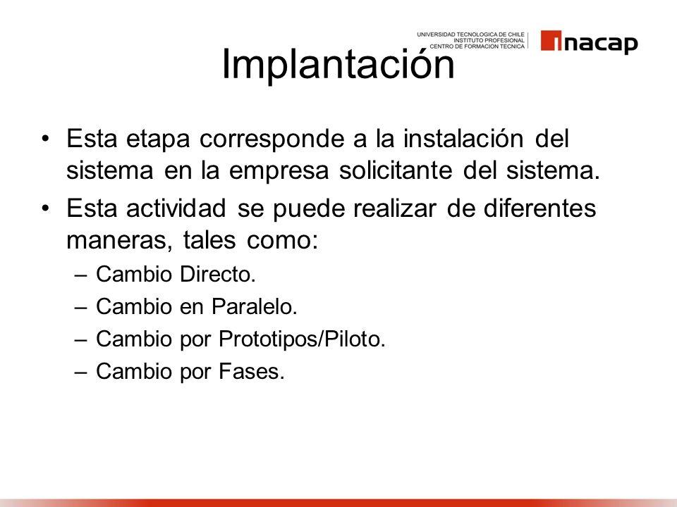 Implantación Esta etapa corresponde a la instalación del sistema en la empresa solicitante del sistema. Esta actividad se puede realizar de diferentes