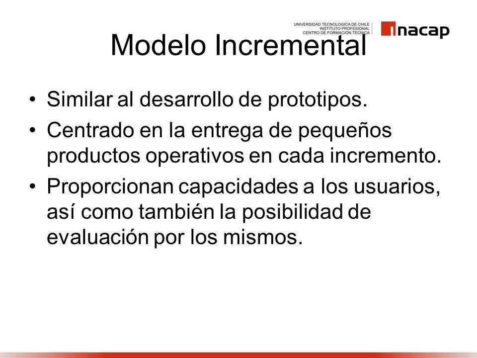 Similar al desarrollo de prototipos. Centrado en la entrega de pequeños productos operativos en cada incremento. Proporcionan capacidades a los usuari