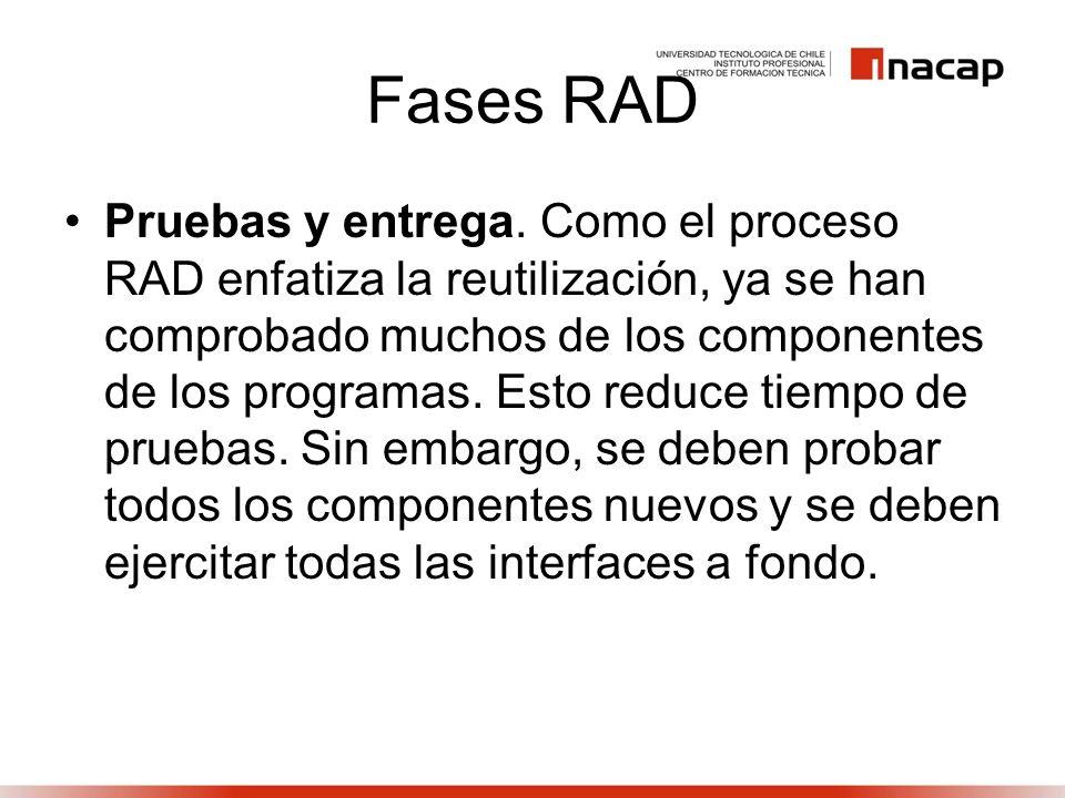 Fases RAD Pruebas y entrega. Como el proceso RAD enfatiza la reutilización, ya se han comprobado muchos de los componentes de los programas. Esto redu