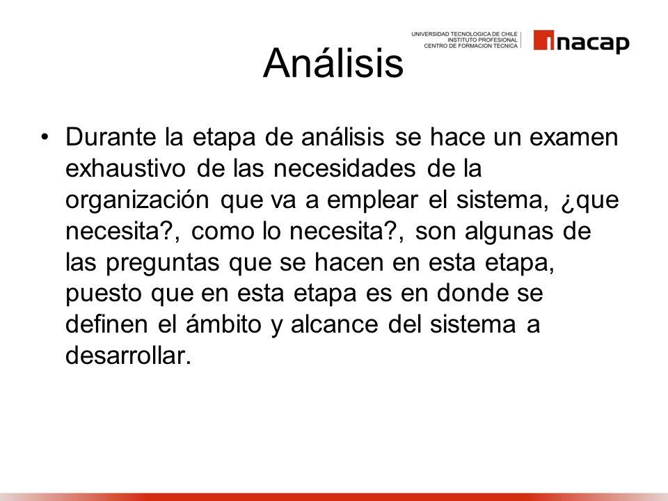 Análisis Durante la etapa de análisis se hace un examen exhaustivo de las necesidades de la organización que va a emplear el sistema, ¿que necesita?,