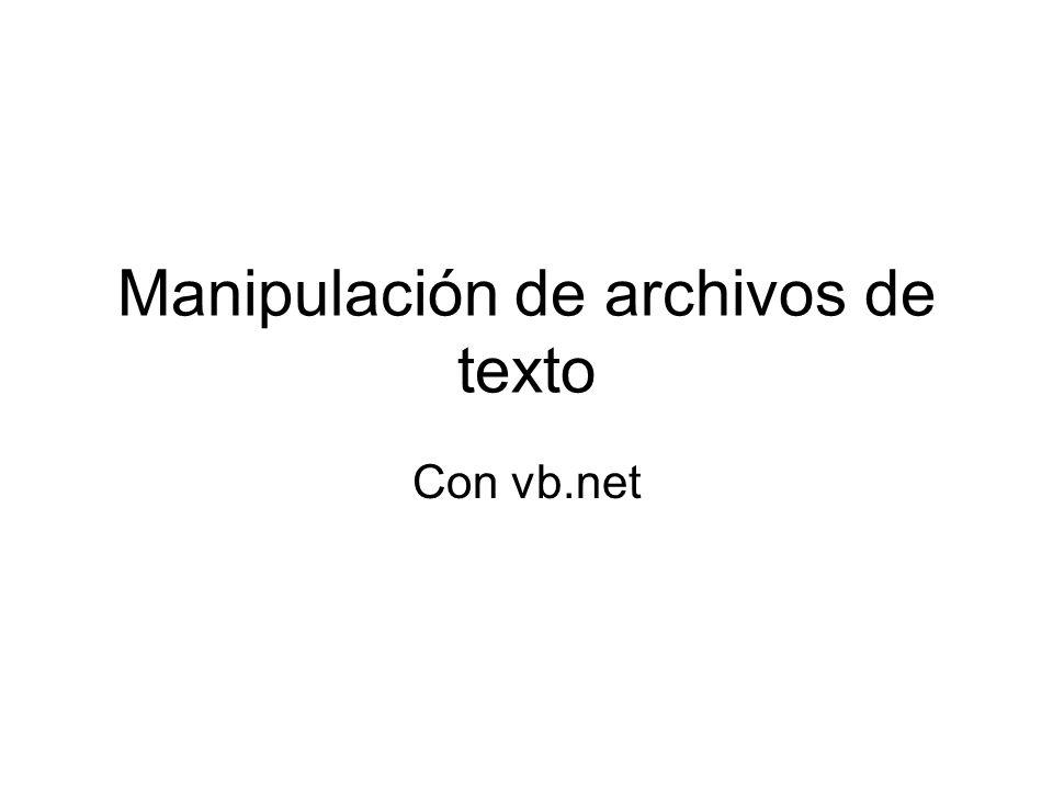 Las clases StreamReader y StreamWriter Escribir en un archivo de Texto Dim archivo As New System.IO.StreamWriter( c:\test.txt ) archivo.WriteLine( Here is the first line. ) archivo.Close()