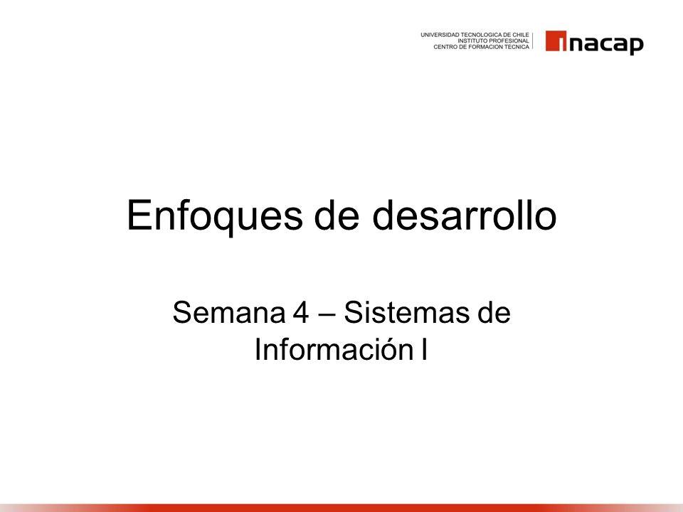 Enfoques de desarrollo Semana 4 – Sistemas de Información I