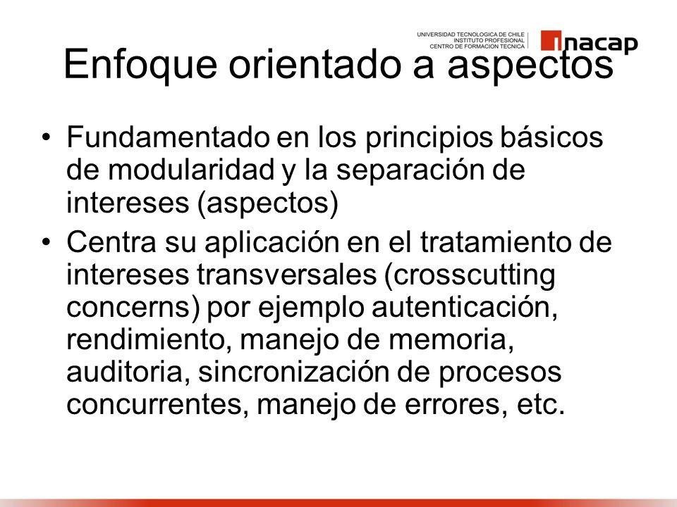 Enfoque orientado a aspectos Fundamentado en los principios básicos de modularidad y la separación de intereses (aspectos) Centra su aplicación en el tratamiento de intereses transversales (crosscutting concerns) por ejemplo autenticación, rendimiento, manejo de memoria, auditoria, sincronización de procesos concurrentes, manejo de errores, etc.