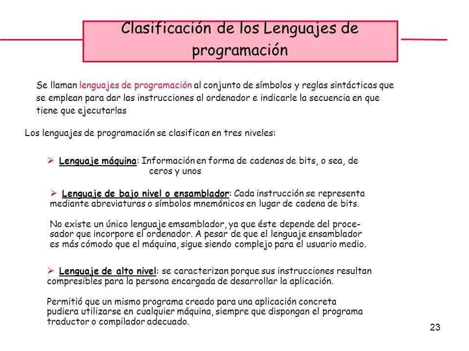 23 Clasificación de los Lenguajes de programación Se llaman lenguajes de programación al conjunto de símbolos y reglas sintácticas que se emplean para