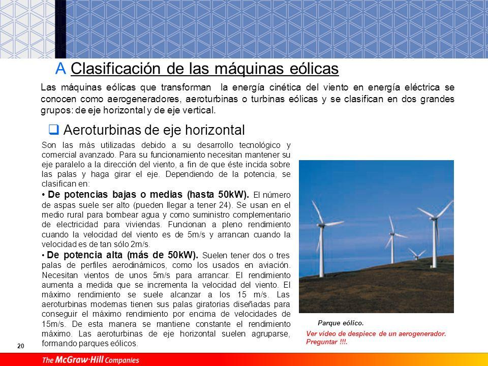 19 6.3. Energía eólica Molino americano. Tiene como fuente al viento, es decir, al aire en movimiento. Lo que se aprovecha es su energía cinética. El