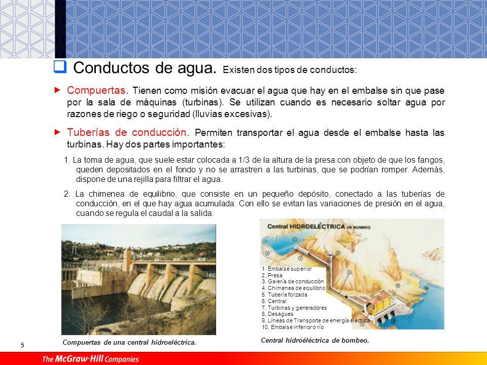 4 Embalse Representa la totalidad del agua acumulada. Para ello dispone de un muro grueso de hormigón, denominado presa, cuya función es la de retener