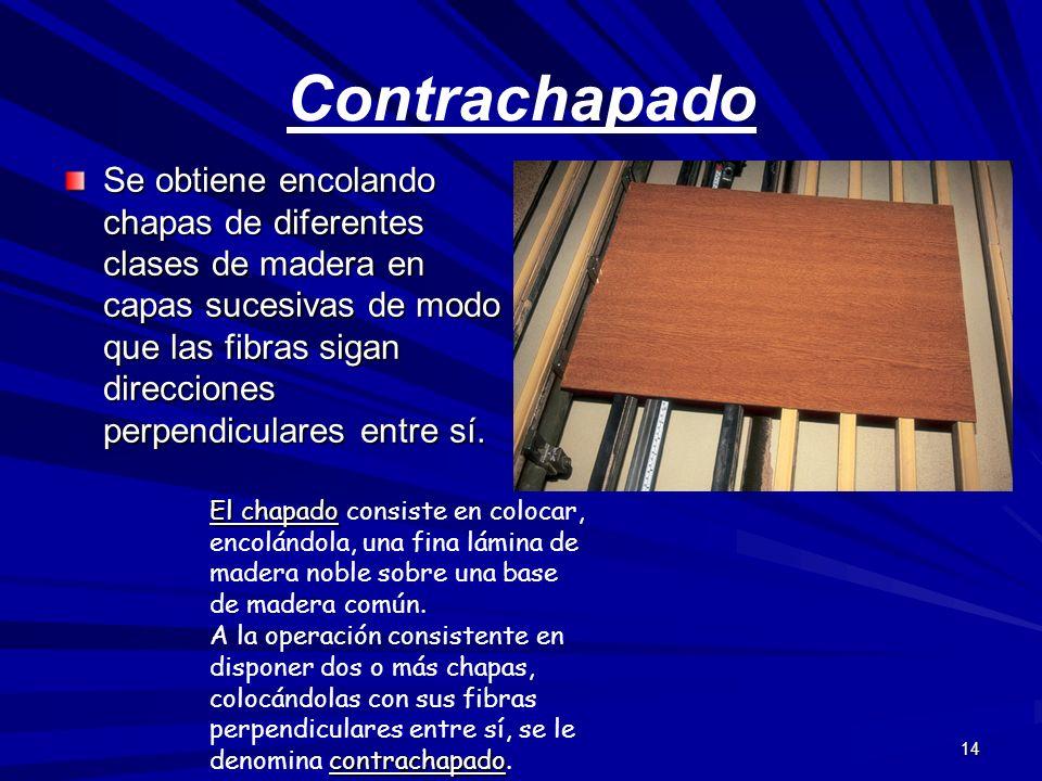 14 Contrachapado Se obtiene encolando chapas de diferentes clases de madera en capas sucesivas de modo que las fibras sigan direcciones perpendiculare