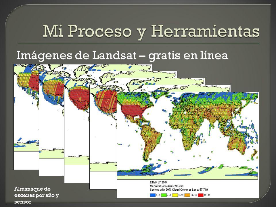 Imágenes de Landsat – gratis en línea Almanaque de escenas por año y sensor