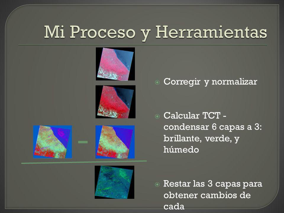 Corregir y normalizar Calcular TCT - condensar 6 capas a 3: brillante, verde, y húmedo Restar las 3 capas para obtener cambios de cada