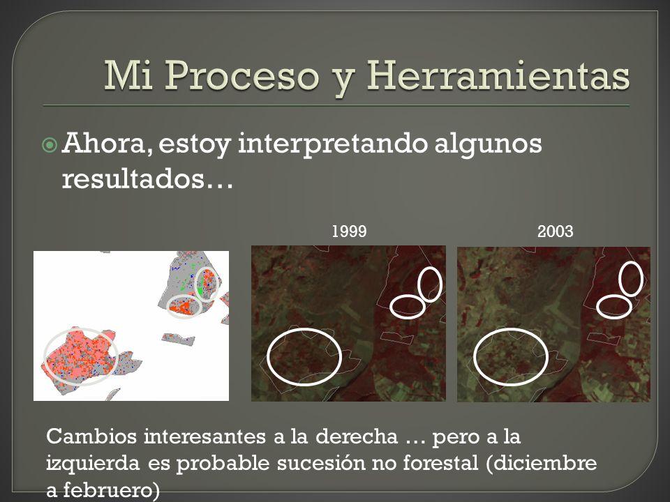 Ahora, estoy interpretando algunos resultados… 19992003 Cambios interesantes a la derecha … pero a la izquierda es probable sucesión no forestal (dici
